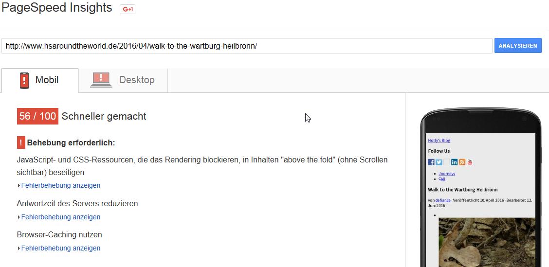 Page Speed vor der Optimierung von Browser Caching