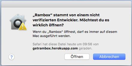 OS X: Installieren von Programmen von nicht verifizierten Entwicklern auf dem Mac