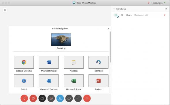 WebEx überträgt kein Bild unter MacOS Catalina
