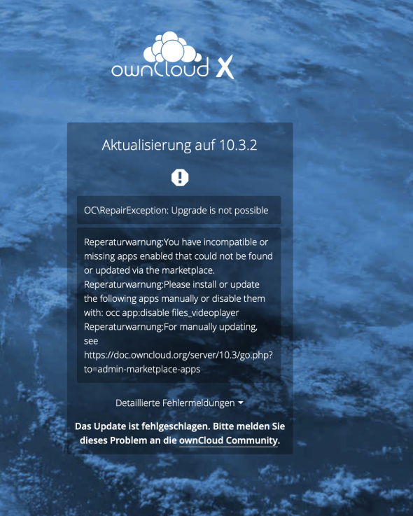 OwnCloud Update schlägt fehl: OC\RepairException: Upgrade is not possible