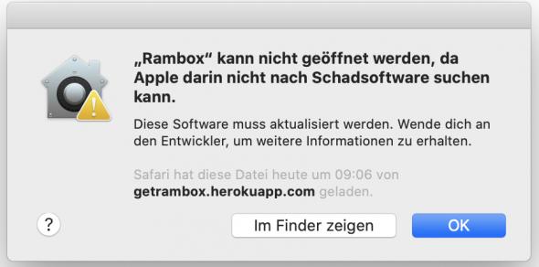 macOS Catalina – Anwendung kann nicht geöffnet werden, da Apple darin nicht nach Schadsoftware suchen kann.