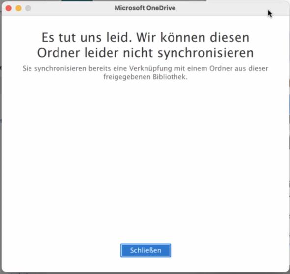 OneDrive: Wir können diesen Ordner leider nicht synchronisieren